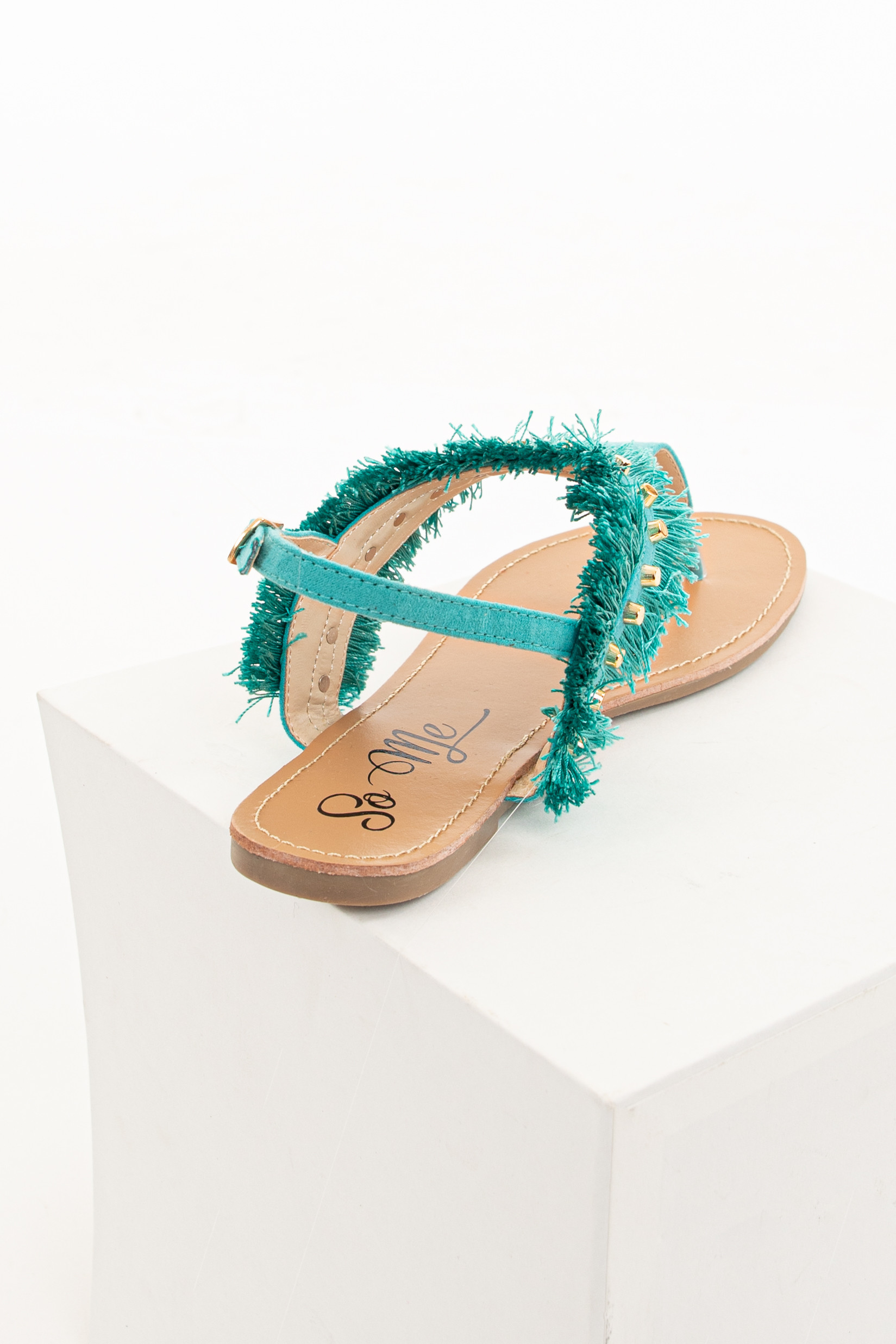 Teal Fringe Gladiator Sandals with Gold Stud Details