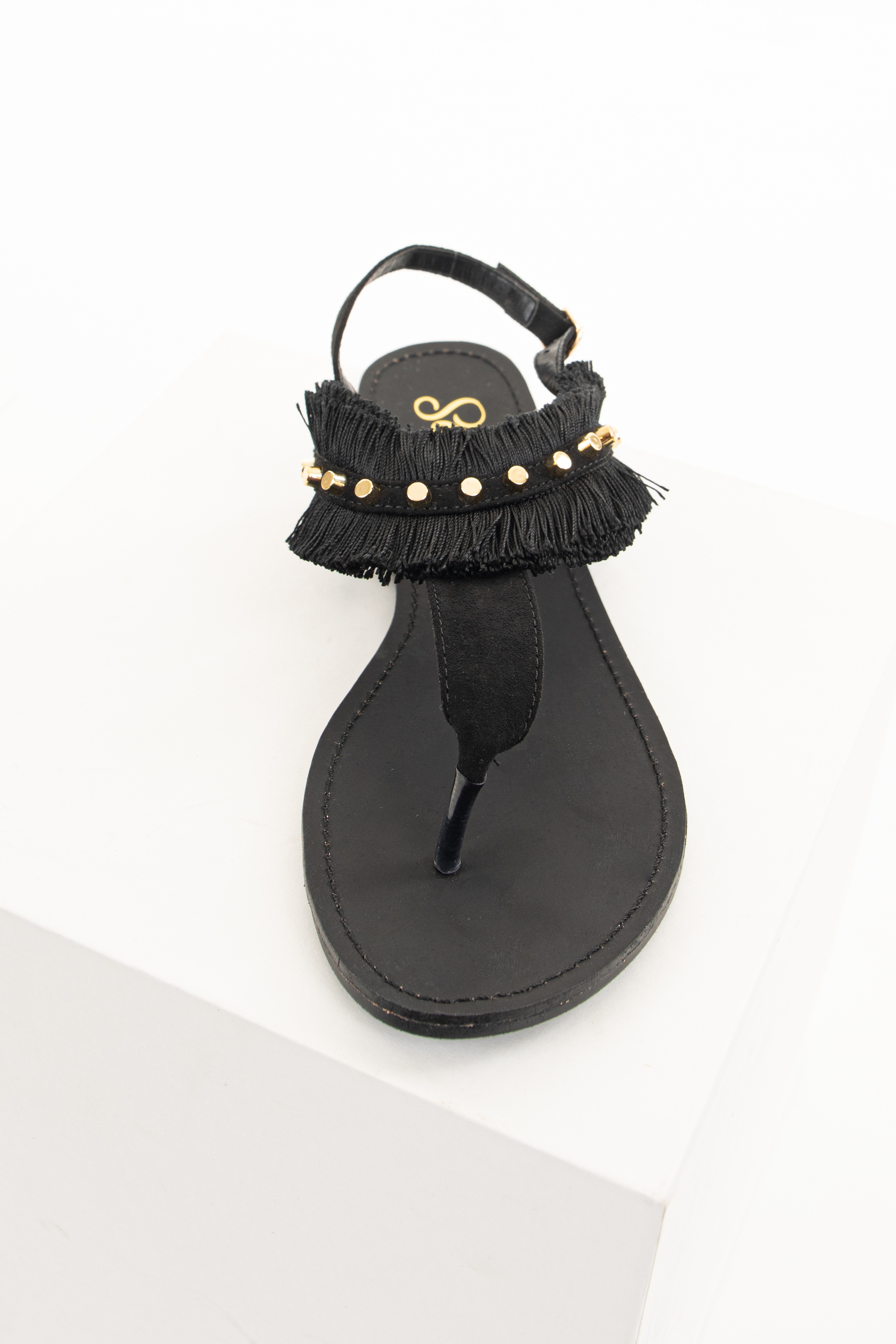 Black Fringe Gladiator Sandals with Gold Stud Details