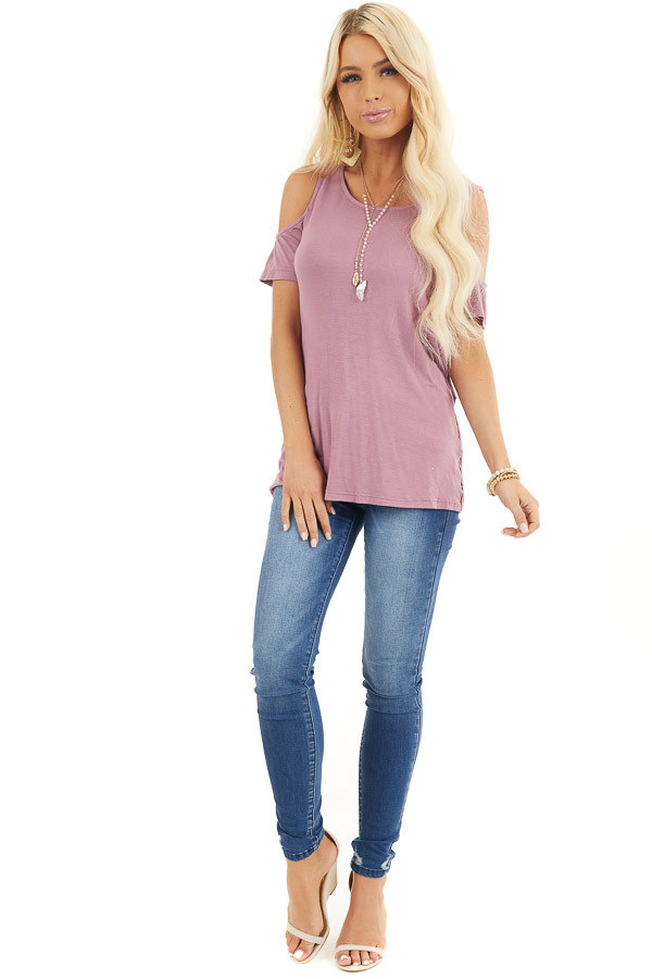 Dusty Rose Cold Shoulder Top with Caged Back Detail front full body