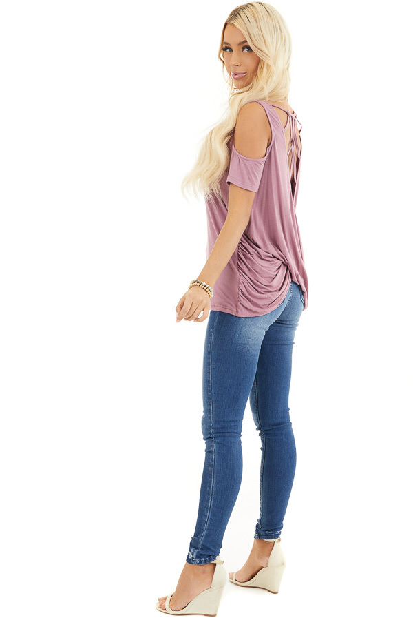 Dusty Rose Cold Shoulder Top with Caged Back Detail side full body