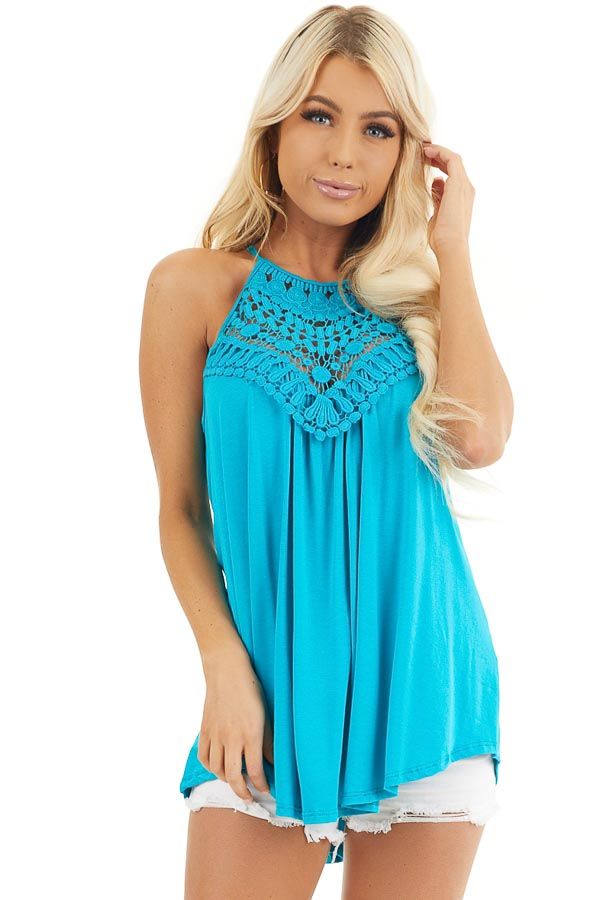Deep Turquoise Tank Top with Sheer Lace Chest front close up
