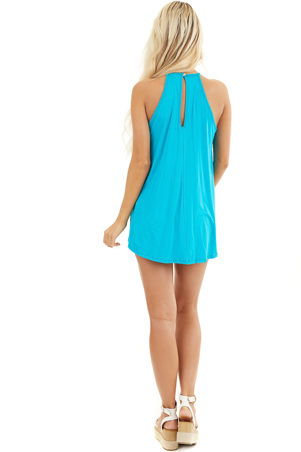 Deep Turquoise Tank Top with Sheer Lace Chest back full body