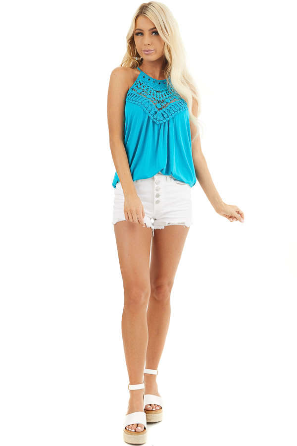 Deep Turquoise Tank Top with Sheer Lace Chest front full body