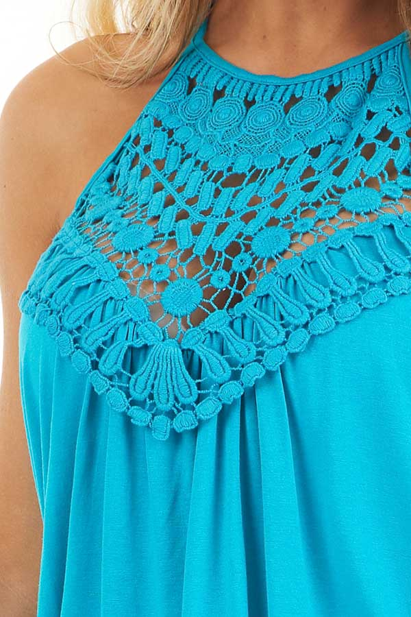 Deep Turquoise Tank Top with Sheer Lace Chest detail