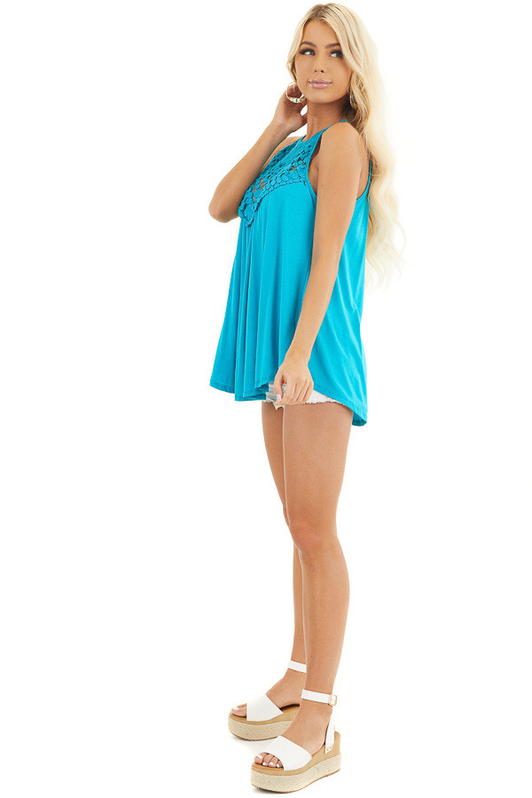 Deep Turquoise Tank Top with Sheer Lace Chest side full body