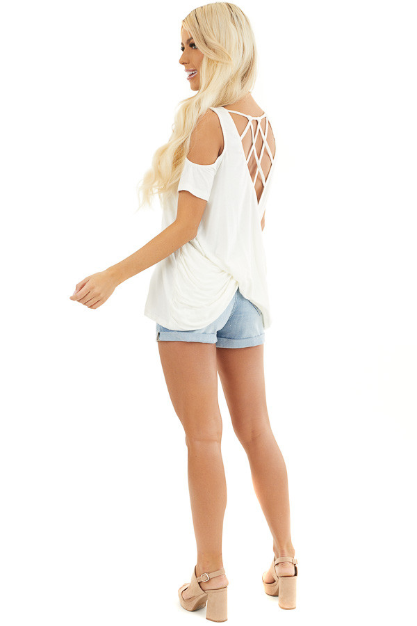Off White Cold Shoulder Top with Caged Back Detail side full body