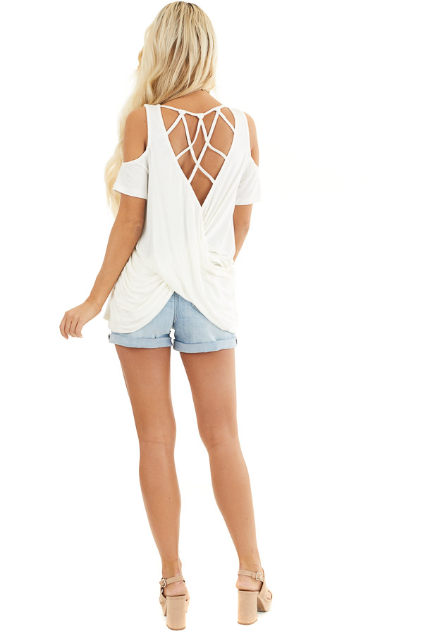 Off White Cold Shoulder Top with Caged Back Detail back full body