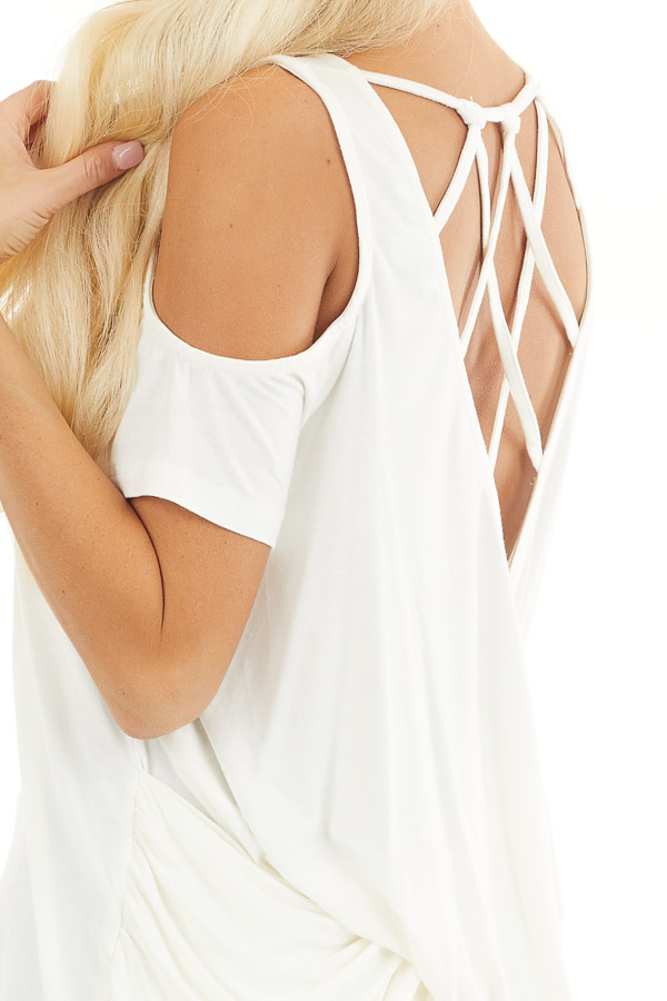 Off White Cold Shoulder Top with Caged Back Detail detail