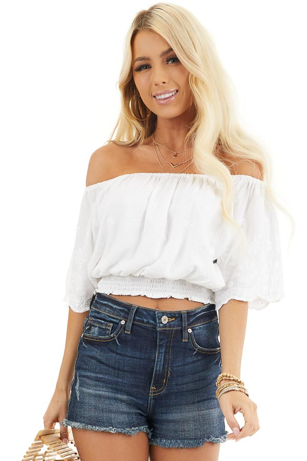 White Off Shoulder Woven Top with Floral Embroidery front close up