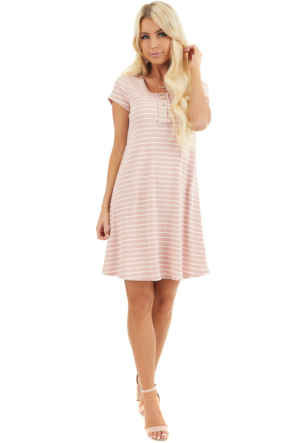 Dusty Blush and Ivory Striped Short Sleeve Henley Dress front full body
