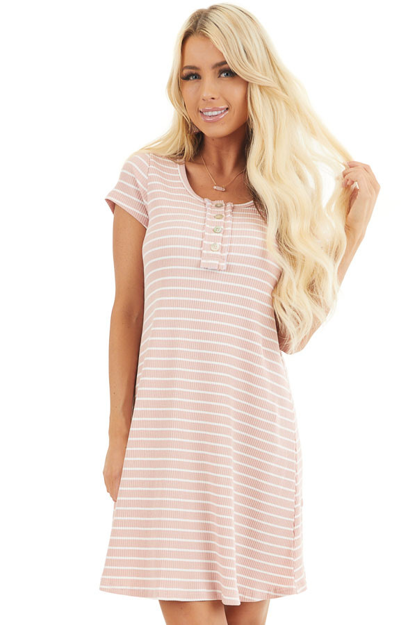 Dusty Blush and Ivory Striped Short Sleeve Henley Dress front close up