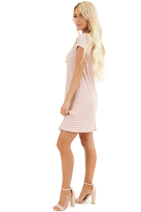 Dusty Blush and Ivory Striped Short Sleeve Henley Dress side full body