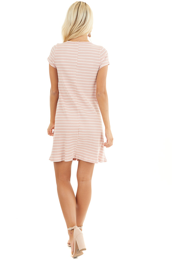 Dusty Blush and Ivory Striped Short Sleeve Henley Dress back full body