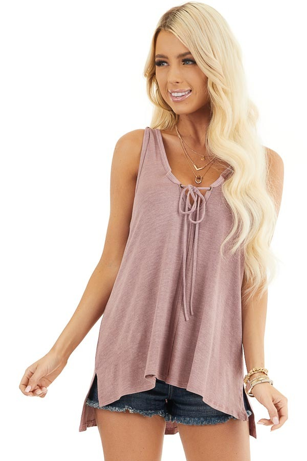 Dusty Rose Knit Tank with Twisted Straps and Tie Detail front close up