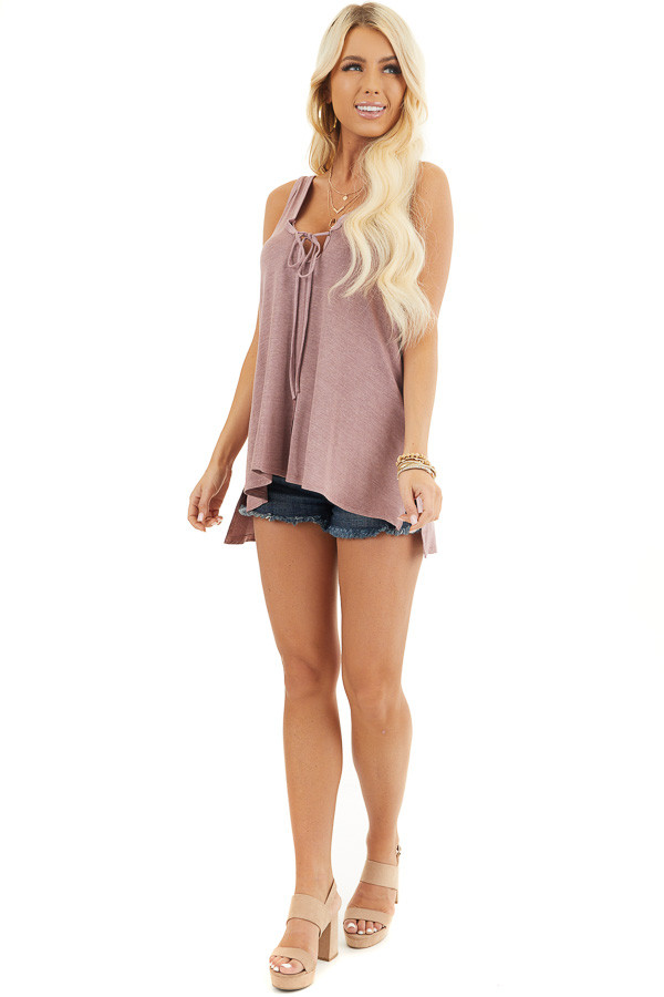 Dusty Rose Knit Tank with Twisted Straps and Tie Detail front full body