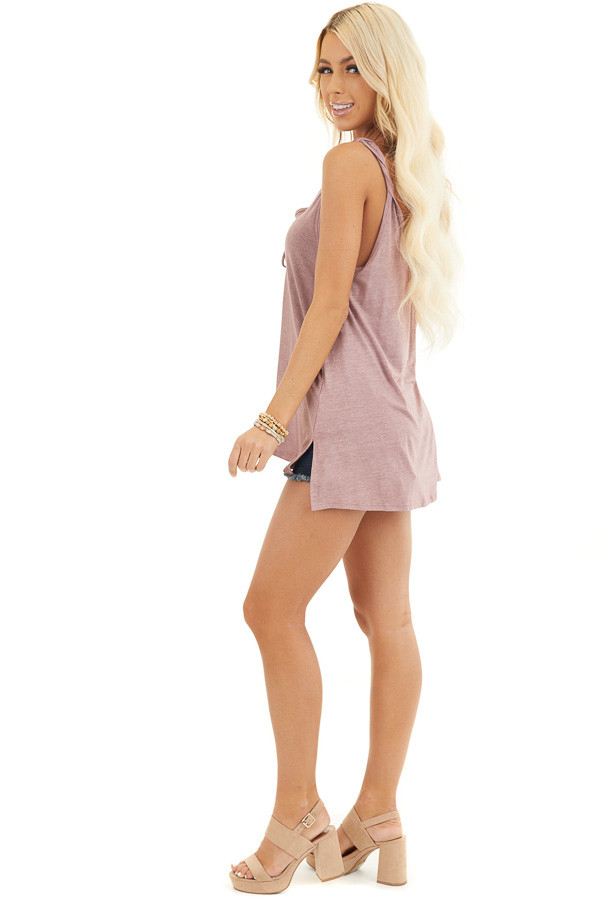 Dusty Rose Knit Tank with Twisted Straps and Tie Detail side full body