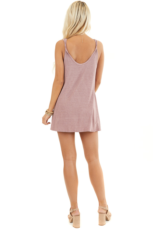 Dusty Rose Knit Tank with Twisted Straps and Tie Detail back full body