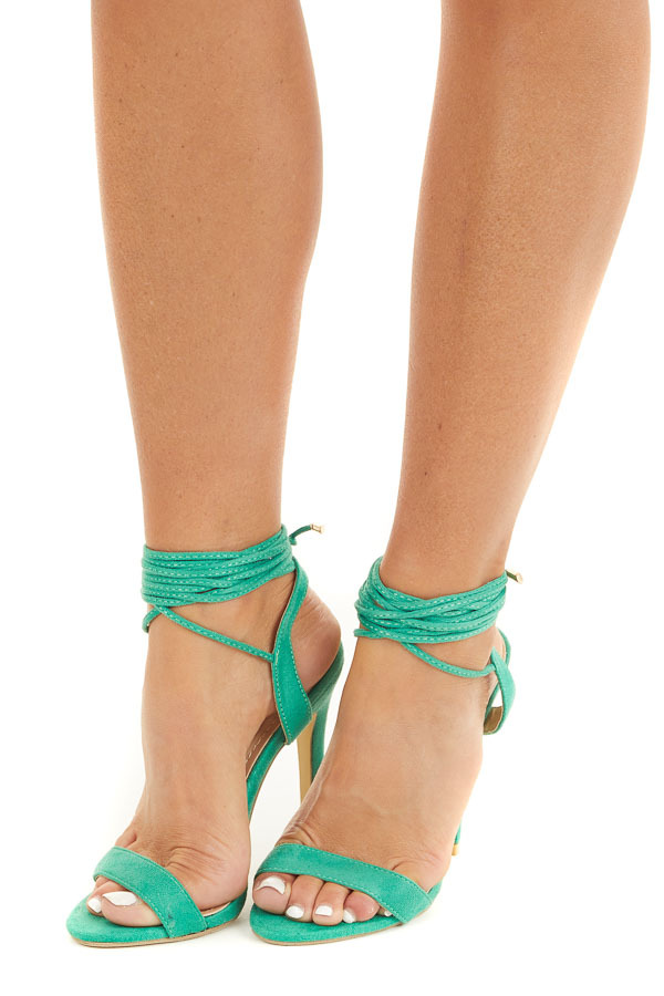 Kelly Green Stiletto Heels with Ankle Tie Detail