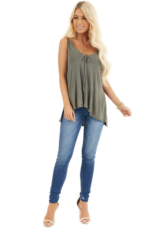 Olive Green Knit Tank with Twisted Straps and Tie Detail front full body