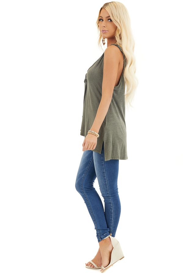 Olive Green Knit Tank with Twisted Straps and Tie Detail side full body