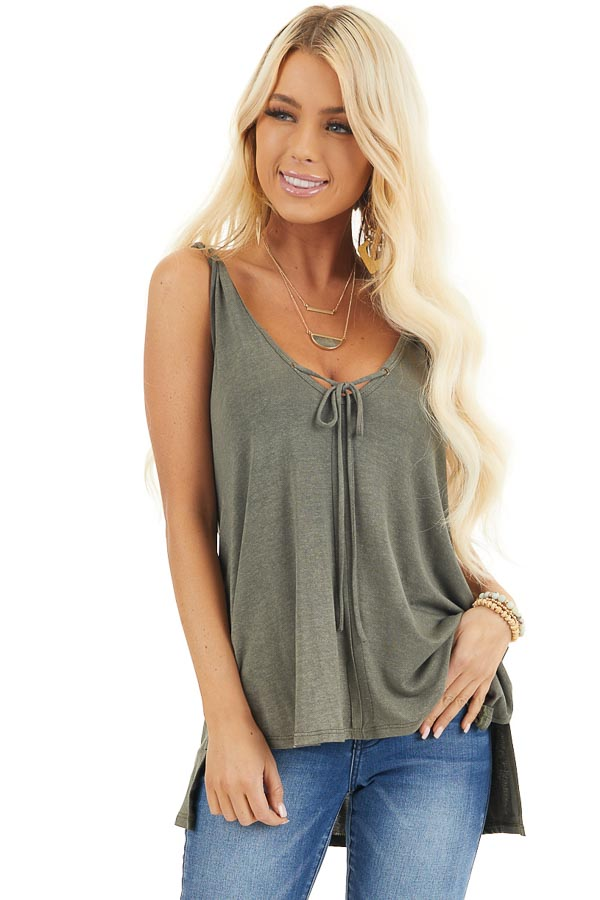 Olive Green Knit Tank with Twisted Straps and Tie Detail front close up