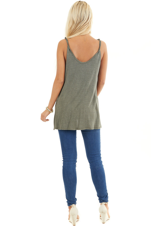 Olive Green Knit Tank with Twisted Straps and Tie Detail back full body