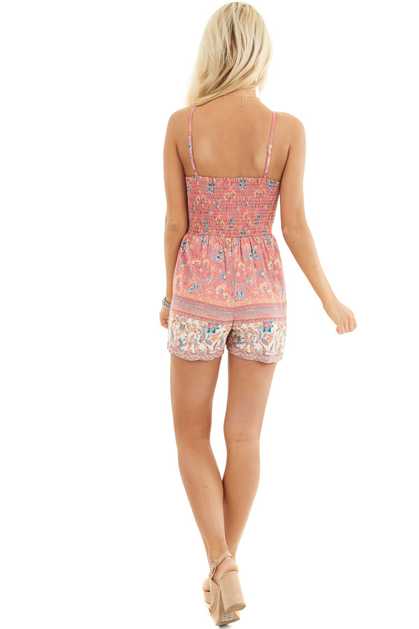Coral Floral Print Sleeveless Romper with Smocked Bust back full body