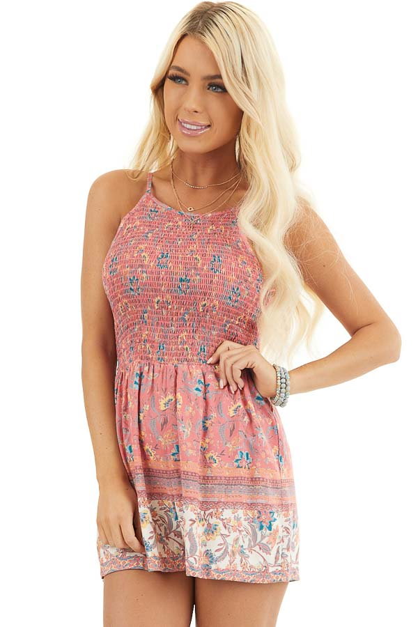 Coral Floral Print Sleeveless Romper with Smocked Bust front close up