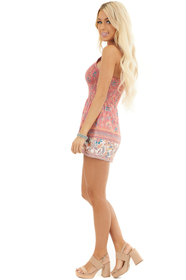 Coral Floral Print Sleeveless Romper with Smocked Bust side full body