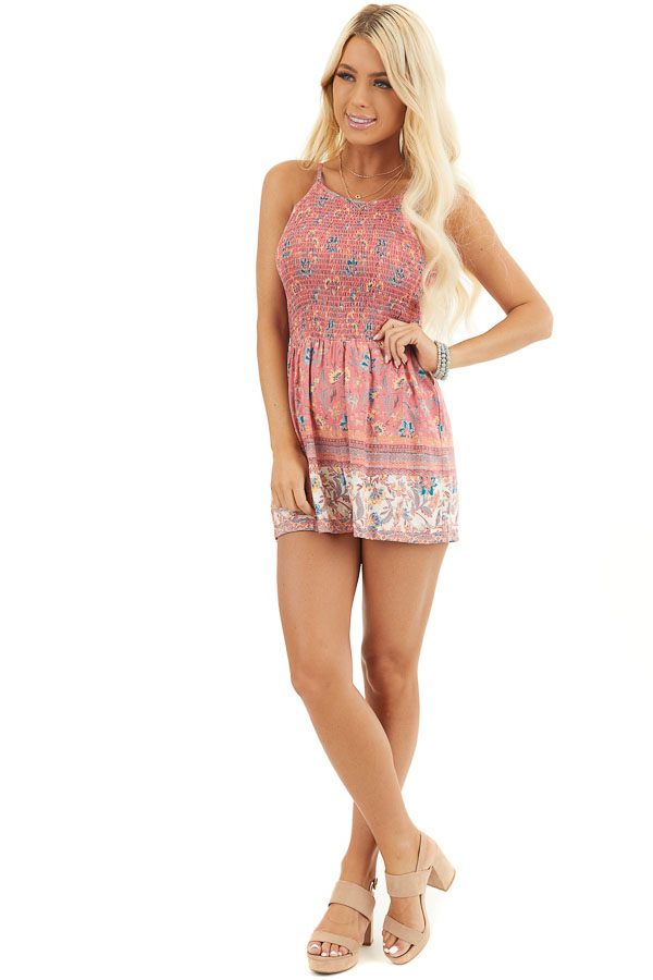 Coral Floral Print Sleeveless Romper with Smocked Bust front full body
