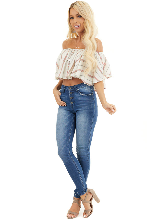 Ivory Striped Off Shoulder Crop Top with Button Details front full body