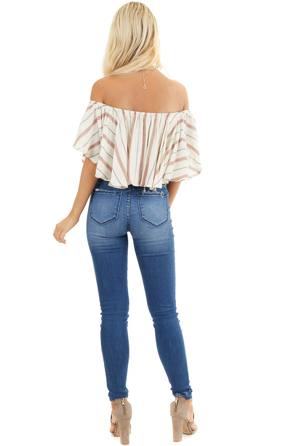 Ivory Striped Off Shoulder Crop Top with Button Details back full body