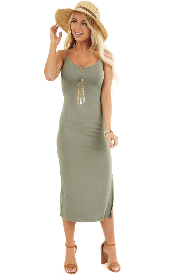 Olive V Neck Midi Dress with Adjustable Spaghetti Straps front full body
