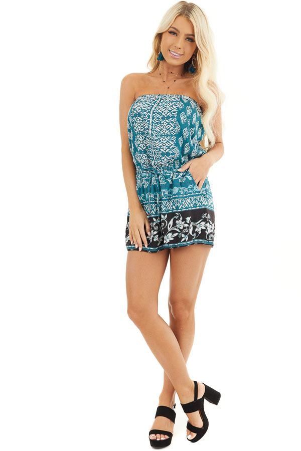 Dark Teal Printed Strapless Romper with Pockets front full body