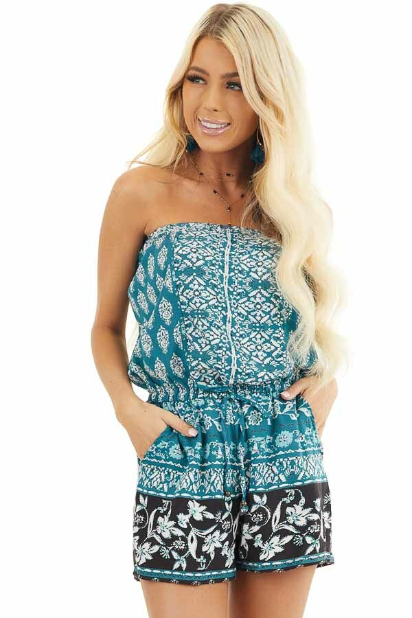 Dark Teal Printed Strapless Romper with Pockets front close up