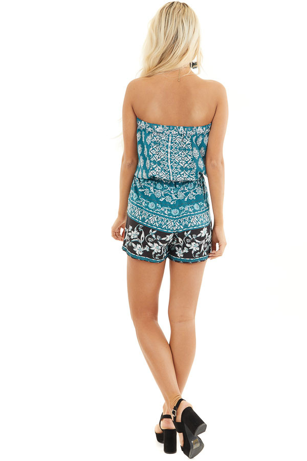 Dark Teal Printed Strapless Romper with Pockets back full body