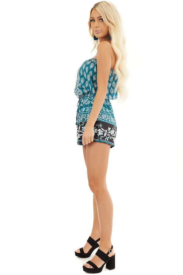 Dark Teal Printed Strapless Romper with Pockets side full body