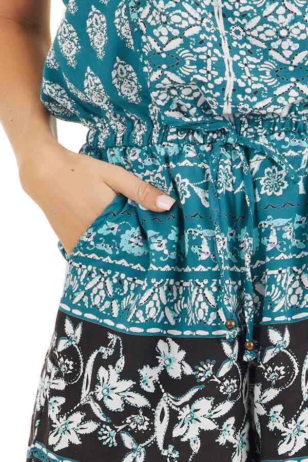 Dark Teal Printed Strapless Romper with Pockets detail