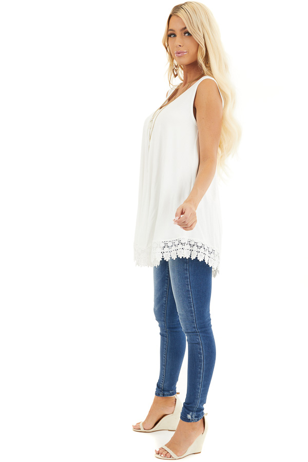 White Flowy Tunic Tank Top with Crochet Lace Trim Detail side full body