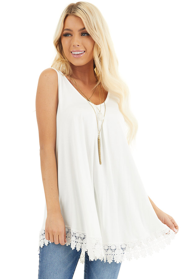 White Flowy Tunic Tank Top with Crochet Lace Trim Detail front close up