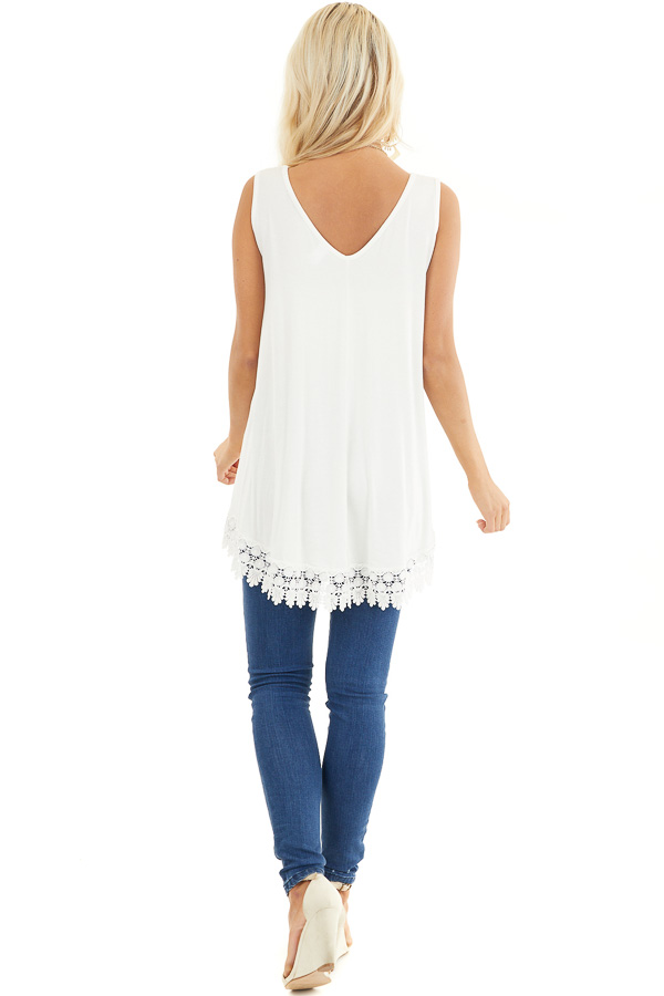 White Flowy Tunic Tank Top with Crochet Lace Trim Detail back full body