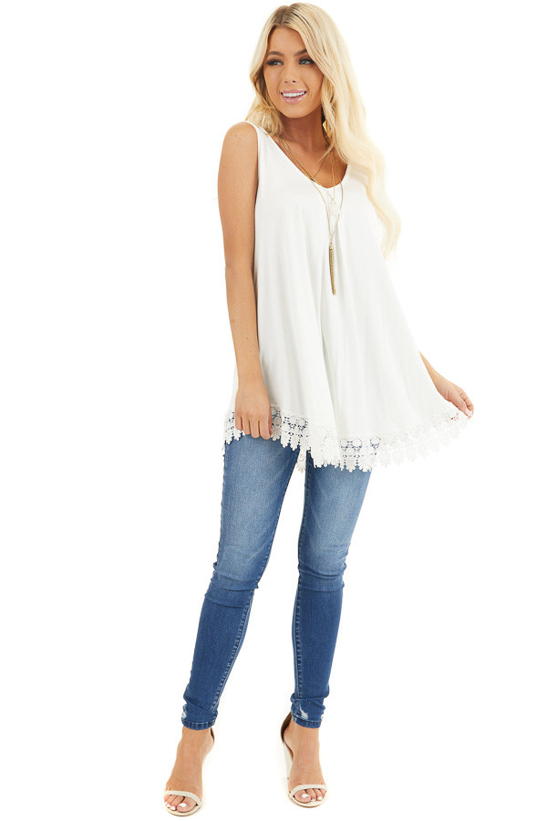 White Flowy Tunic Tank Top with Crochet Lace Trim Detail front full body