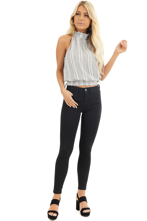 Charcoal Vertical Striped Tank Top with Smocked Details front full body
