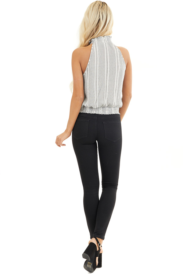 Charcoal Vertical Striped Tank Top with Smocked Details back full body