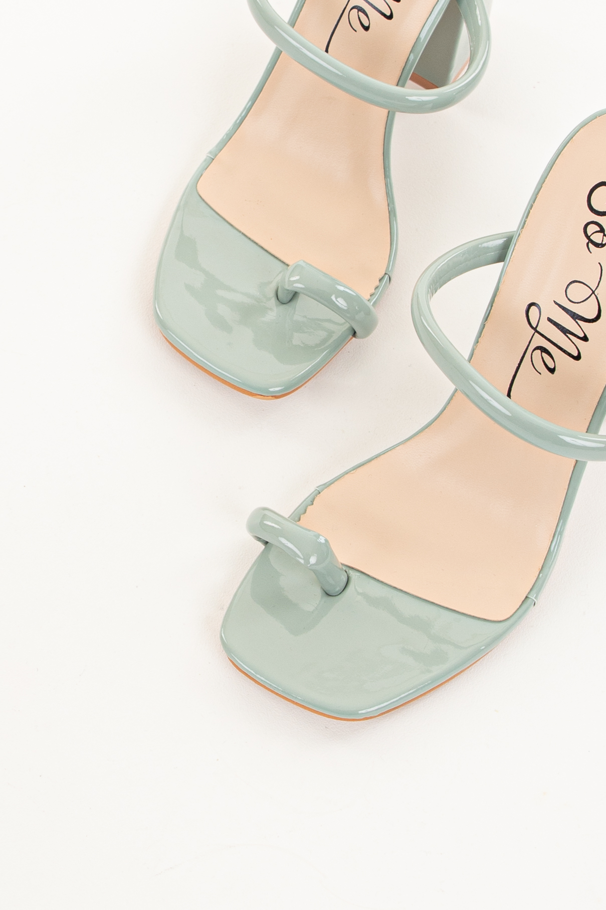 Sage Green Open Square Toe Chunky Heel Sandals
