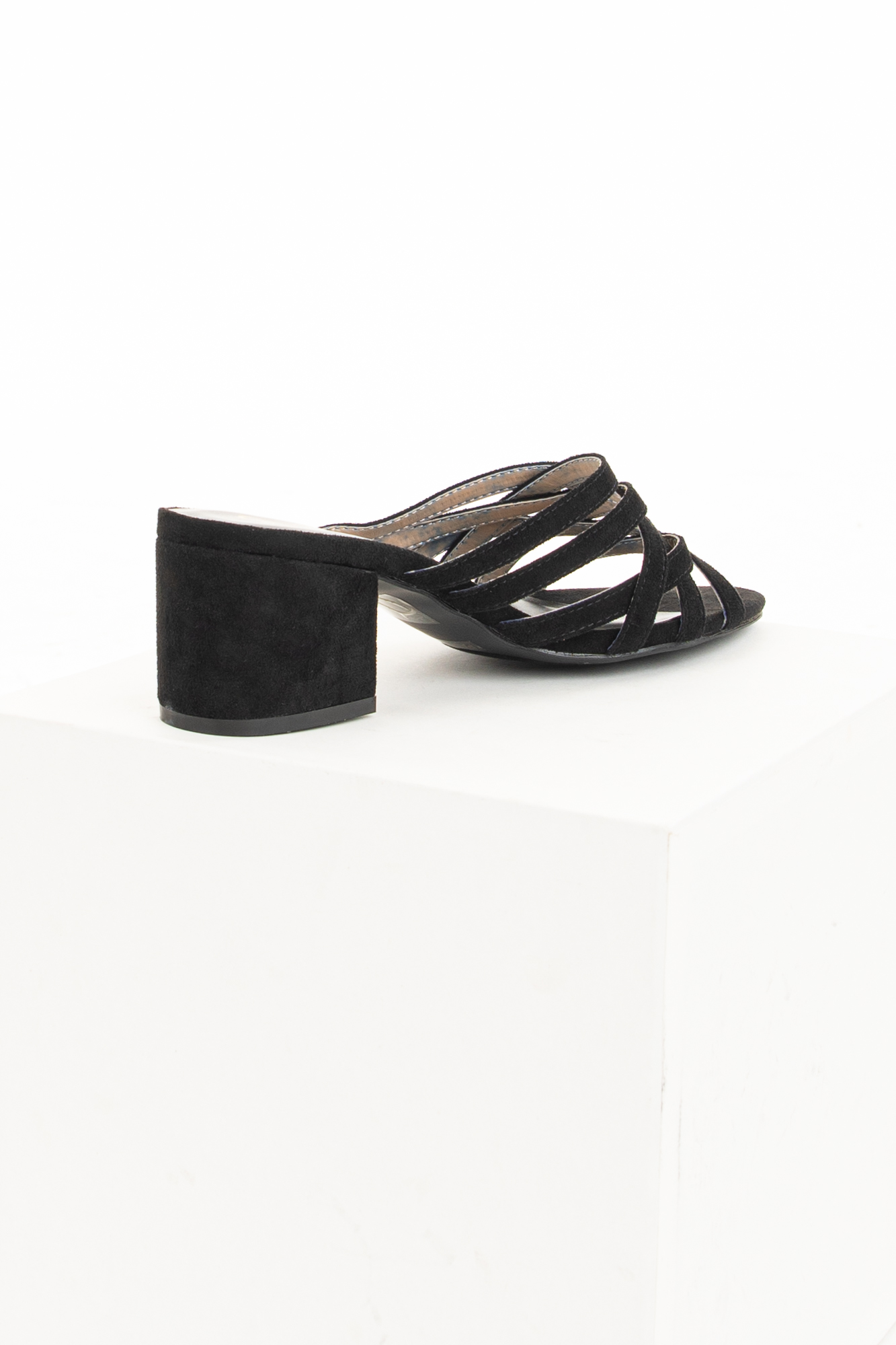 Black Faux Suede Chunky Heeled Strappy Sandals