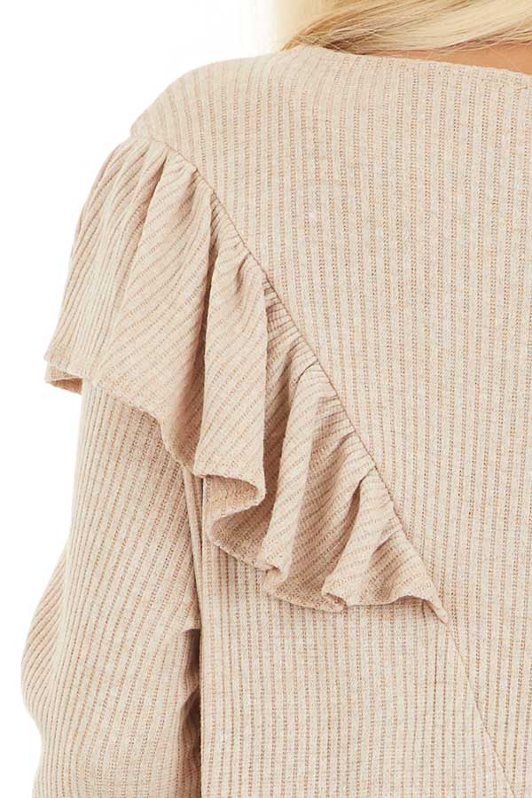Beige Ribbed Long Sleeve Top with Cross Body Ruffle Detail detail