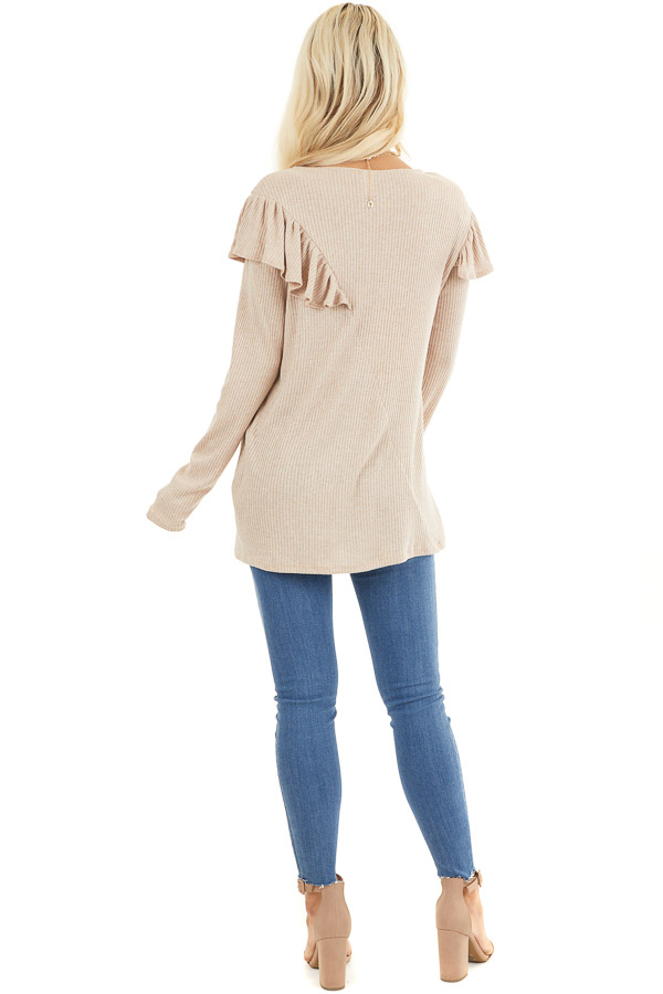 Beige Ribbed Long Sleeve Top with Cross Body Ruffle Detail back full body