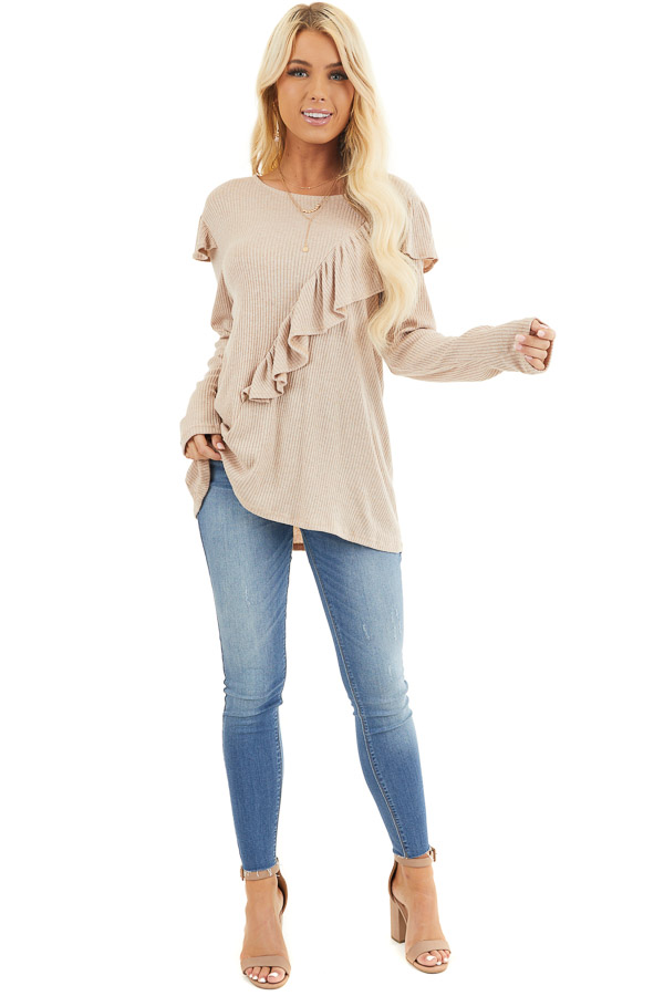Beige Ribbed Long Sleeve Top with Cross Body Ruffle Detail front full body