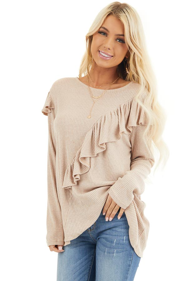 Beige Ribbed Long Sleeve Top with Cross Body Ruffle Detail front close up